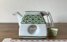 Green Geometric Design Miniature Teapot Collection by Porcelain Art With Tags