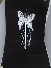 FLOWER GIRL OR BRIDESMAID SILVER PALE BABY BLUE BUTTERFLY WAND WITH CRYSTALS