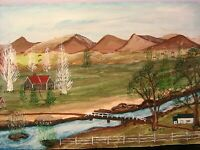 Original Landscape Painting Style of Grandma Moses Signed Dyer