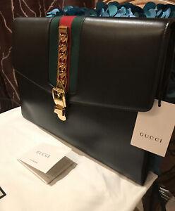 HOT! Authentic Gucci Sylvie Leather Portfolio Pouch Clutch Bag Limited Edition