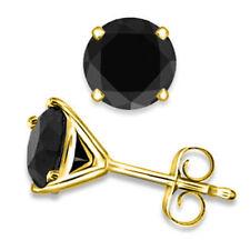 1.00ct TW Black Enhanced Diamond 4 Prong Martini Stud Earrings 14K Yellow Gold