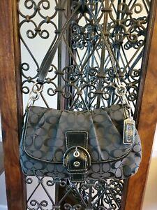 COACH Classic Signature Soho Flap Black Canvas Shoulder Bag #F17093