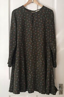 White Stuff Green Floral Long-sleeved Dress Size 10. Fully lined. Knee length