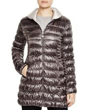 Laundry by Shelli Segal Reversible Packable Down Coat Puffer Charcoal/Pewter M