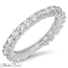1.20 ct pave set Wedding Engagement Band Ring Solid Real 14kt White Gold USA