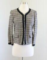 NWT Ann Taylor Loft Tan Black Woven Tweed Fringe Collarless Blazer Jacket Size 4