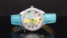 Disney TNK529 Tinkerbell Blue Leather Band Crystals Kid's Watch GREAT GIFT