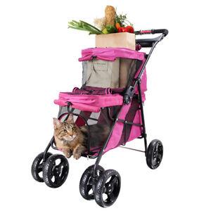 Double Decker Pet Stroller 4 Wheel Puppy Dog Cat Travel Carrier Jogger Pushchair