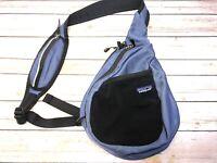 Patagonia Periwinkle Black Sling Bag Backpack Hiking Pack One Shoulder