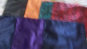 LOT OF 7 SILK POCKET SQUARES HAND MADE IN CHINA PATTERNS AND PLAIN NEW