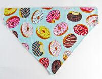 Donuts Dog Bandana, Over the Collar dog bandana, Dog collar bandana, puppy