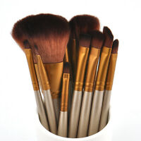 Pro Makeup Eyeshadow Powder Foundation 12pcs Brushes Set Eyeliner Lip Brush Tool