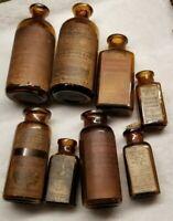 Lot Of Eight Parke Davis Original Labels Pharmaceutical Medicine Bottles Lot # 4