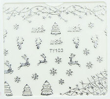 Christmas SILVER Snowflakes Reindeer Star 3D Nail Art Sticker Decals UV Manicure