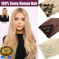 AAA CLEARANCE Clip in Human Hair Extensions Full Head 100% Real Remy Hair
