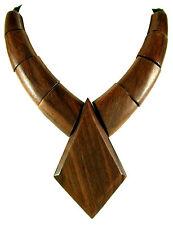 Large Boho Tribal Natural Sono Wood Pendant Cord Necklace Handmade Jewelry GA082