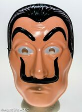 Salvador Dali Money Heist Mask Mustached Character Halloween Plastic Mask