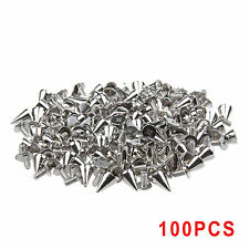 100x Silver Metal Bag Studs Cone Punk Spikes Spots Rivet Leathercraft DIY UK