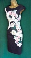 HOBBS UK 6 (<8) Black Stretch Cotton Rose Floral Pencil Shift Knee-Length Dress