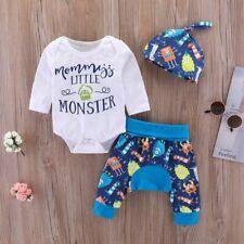 3pcs/Set Newborn Baby Boys Little MONSTER Romper Tops+Pants Leggings Hat Clothes