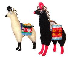 "#65 Alpaca Llama Key Ring 3"" Artisan Peru Made Traditional Andes Gift 2 Piec Set"