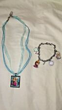 Disney's Frozen Charm Bracelet and Ribbon Necklace Square Pendant Set Anna Elsa