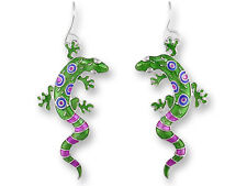 # ZARAH Enamel Jewelry STERLING SILVER Drop Earrings CALYPSO GECKO Purple Green