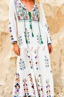 Womens Bohemia full length dress embroidery long sleeve casual beach with strap