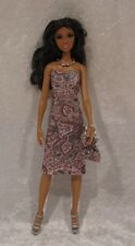 STARDOLL Barbie Doll Clothes #33 Handmade Dress, Purse, Beaded Necklace Set