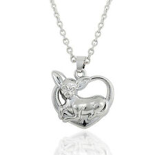 WO Chihuahua Dog Doggie Heart Pendant Necklace Cute Puppy Dog Jewelry Fashion