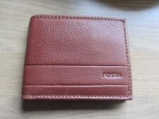 Fossil Lufkin Medium Brown Leather Traveler Wallet ~ New With Tags