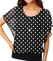 Polka Dot Chiffon Shirt Women Short Sleeve Round Neck Blouse 2XL by Neineiwu