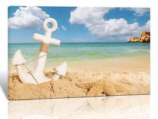 White Anchors Blue Sea Beach Prints on Canvas Walls Framed Artwork for Decor