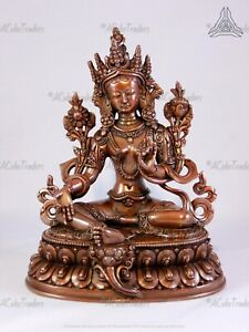 Copper Antiqued Green Tara High Quality (ht 16cm) Handcrafted Statue