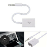 3.5mm Male AUX Audio Plug to USB 2.0 Female Converter Cable Cord for Car MP3 HJH