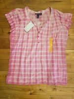 NWT Womens Erin BANDOLINO Pink Hibiscus Combo Tie Dye Peasant Blouse Small S