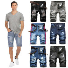 Hombres pantalones cortos de mezclilla pantalón informal de Hombre Pantalones Casuales Rip Jeans Jeans pantalones cortos para Midi