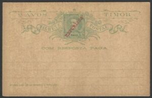 Timor 2a green King Carlos postal card with REPUBLICA overprint unused