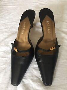 Lauren By Ralph Lauren Women Black Leather Slip On Heel Sandals Size 5.5(H06).