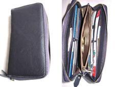 Ausverkauf! Damen Brieftasche Nappaleder Geldbörse EchtLeder Used`Look dkl.lila