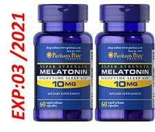 Mélatonine 10 MG Somnifères Super Résistance 60 X 2 = 120 Total USA Très