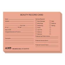 Salon Client Cards Beauty 100pk