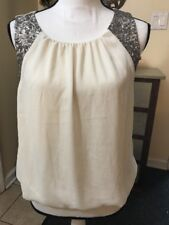 FOREVER21 SLEEVELESS TOP BUBBLE BOTTOM SEQUENCE SHOULDERS SIZE S