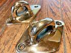 Pair 2 Large Heavily Cast Polished Bronzebrass Diamond Padeyes 4 18 X 3