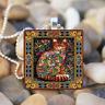Cat Decor painting Art Cabochon Glass Tile Ball Chain Pendant Necklace Art gift