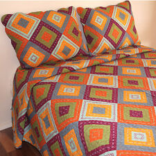 Bedspread in Diamond Shape Print Cotton Quilted Bedspread 3PCS Set Queen Size