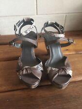 Sandales talons BOCAGE T 37 cuir taupe et python