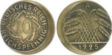 Weimar 10 Pfennig 1925 A Fehlprägung: 15% dezentriert ss-vz