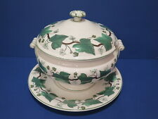 Wedgwood Napolean Ivy Green Queen's Ware Tureen w Underplate