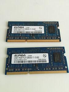 MacBook Pro 4GB Laptop RAM,(2x)Elpida 2GB 1Rx8 PC3-12800S-11-10-B2